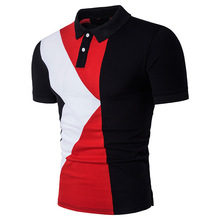 The new males's 100% cotton polo shirt distinction stitching model clothes stripe polo health camisa polo males's clothes