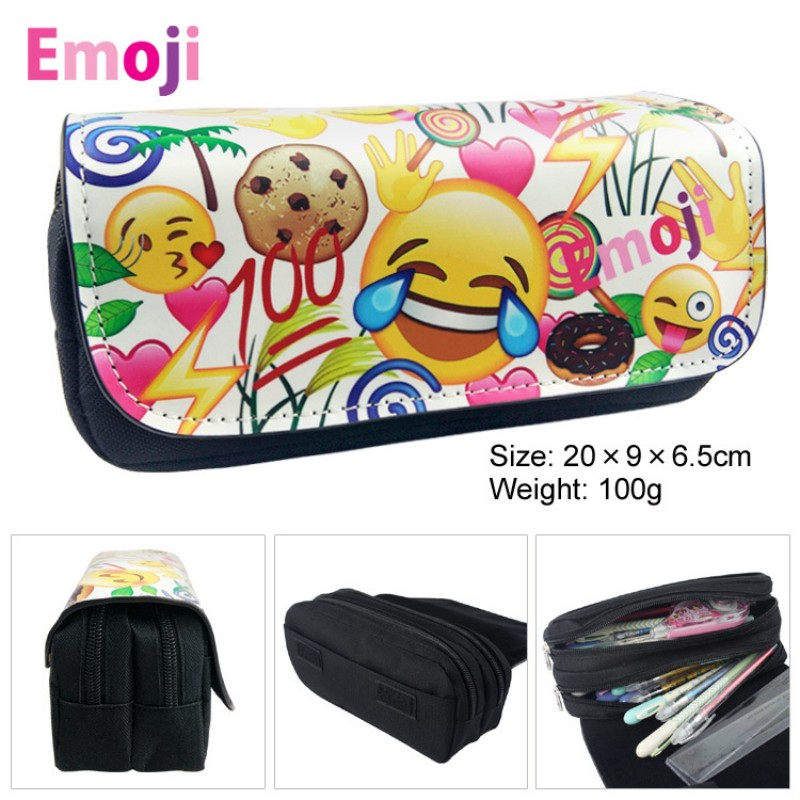 Cute pencil case Kawaii Emoji big capacity pen bag Storage bag Estuche School Supplies Zakka korean stationery waterproof pouch стоимость