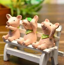 3 Pieces Resin Pig Figurines Micro Landscape Mini Toys Home Garden Decoration Ornament Cute pig figure Toys gift for Children(China)