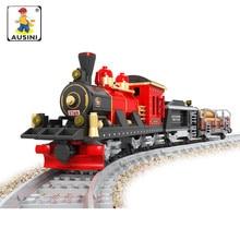 AUSINI 410pcs Vintage Train Plastic Building Blocks Assembled Educational toys for children compatible lepin train brinquedo