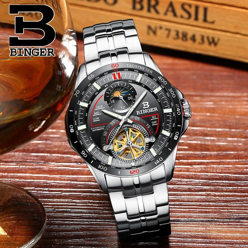 Szwajcaria BINGER męskie zegarki Top marka luksusowy męski zegarek Tourbillon automatyczne Mechanica zegar ze stali nierdzewnej Sapphire reloj w Zegarki mechaniczne od Zegarki na  Grupa 2