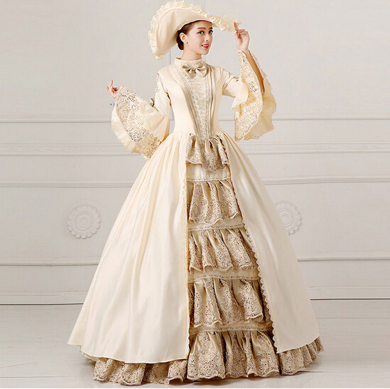 Royal Ladies Medieval Renaissance Victorian Dresses Champagne Masquerade Costumes Queen Ball Gowns For Ladies