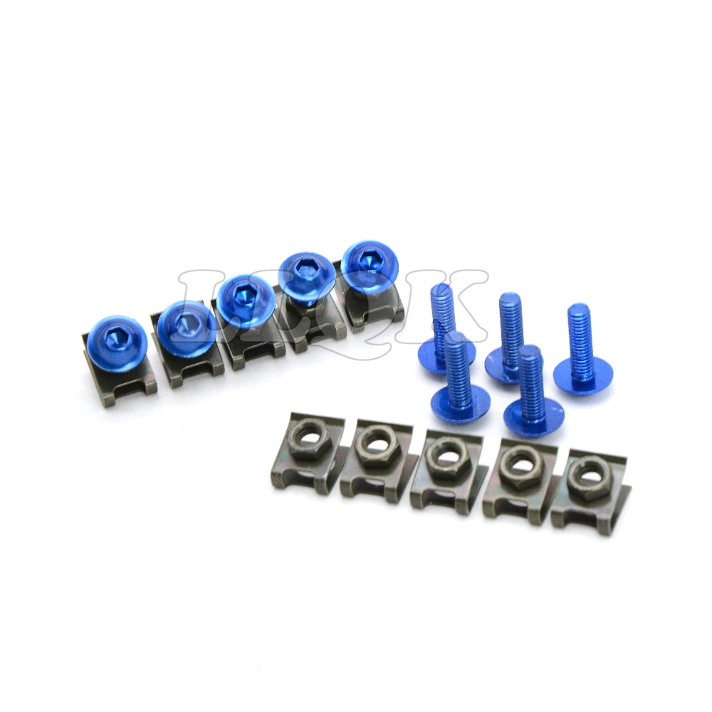 10pcs 6mm CNC Motorcycle Fairing body work Bolts Screws For Ducati Wing M1100 S EVO MONSTER <font><b>YAMAHA</b></font> FZR1000 EXUP <font><b>FZR</b></font> <font><b>1000</b></font> EXUP image