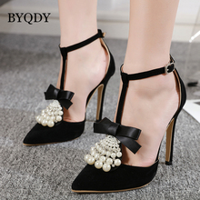 BYQDY Summer New Pointed Pearl Shallow Mouth Ladies Stiletto T-Strap Sandals Sexy Banquet Cover Heels Black Shoes Size 35-40