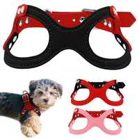 Didog Small Dog Harness Soft Sude Leather Puppy Vest For  Dogs Chihuahua Yorkie  Pink Red Black Colors