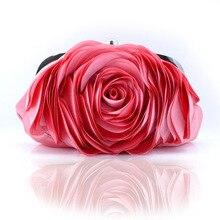 Vintage Damen Floral Abendtasche Frau Mode Rose Blume Kette Handtasche Clutch Hochzeit Abendessen Kleine Geldbörse bolso XA140H
