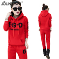 Plus Size 2016 Autumn Winter Fashion Sporting 2 Piece Set Tracksuit For Women Pants And Sweatsuits Clothing Gray Red Sudader