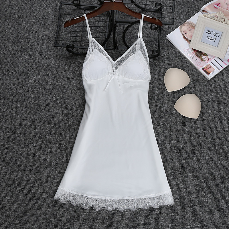 Fashion <font><b>2018</b></font> NEW <font><b>Sexy</b></font> Strap <font><b>Top</b></font> Robe Summer Womens Sleepwear Casual Faux Silk Home Wear Nightwear Bath Gown Size M-XXL image