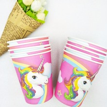 10pcs Unicorn Cup  Cartoon Theme Party For Children Happy Birthday Kids Decoration Supplies Festival