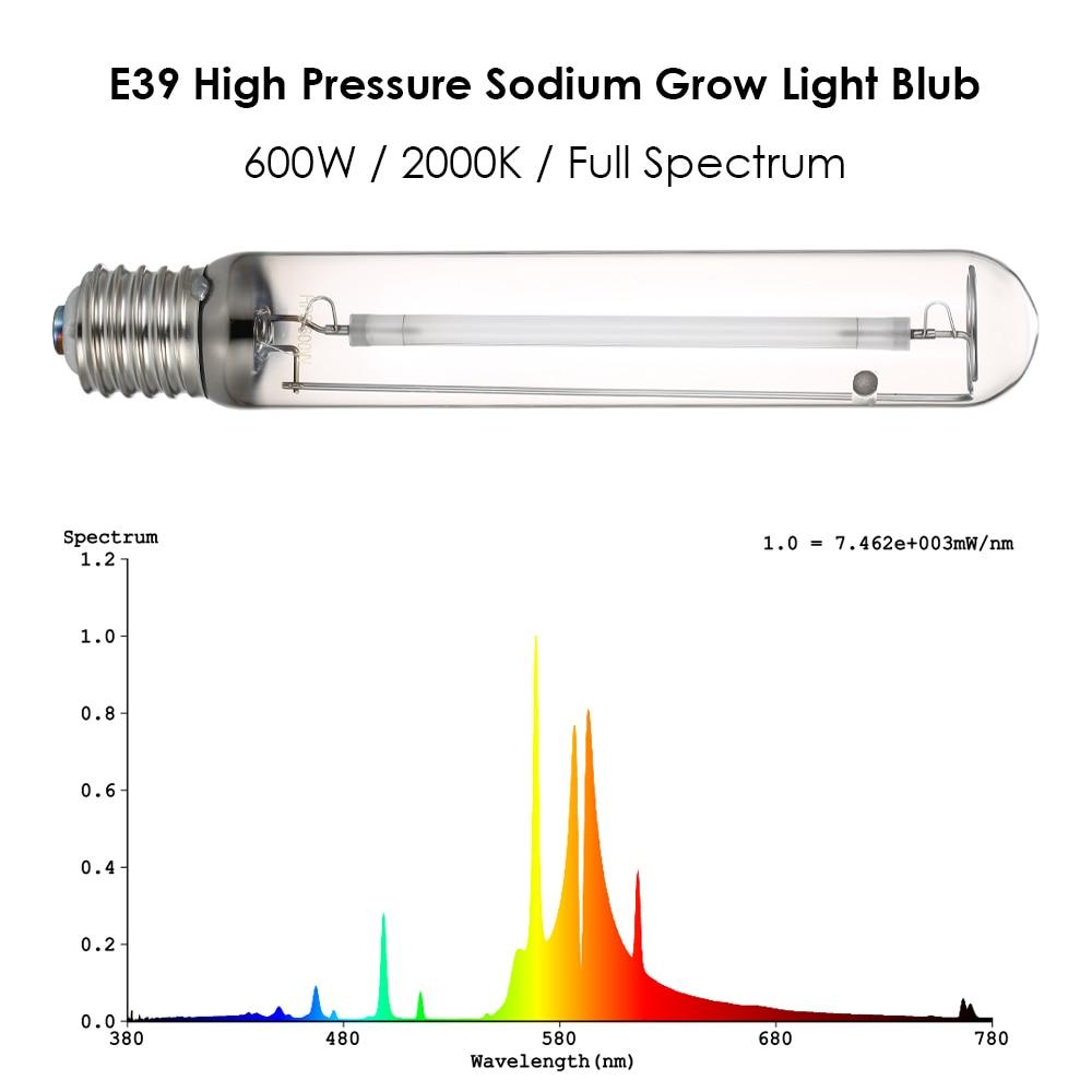 E39 лампочки Растет Оборудования 2000 K 600 W High Давление натрия светать полный спектр лампа hps реветь для гидропоники аэропонного