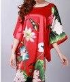 Красный женский Шелковый Халат Sleepingwear Bathgown Цветок Юката Платье Кимоно Платье Один Размер Оптовая Ratail