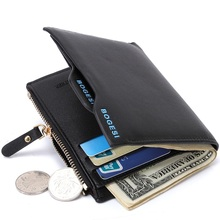 Bogesi Men Short Leather Solid Wallets Male Black Money Purses Zipper Purse for Coin Portable Pocket for Card Monedero Portfel 6