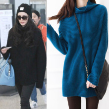 New Arriver Autumn And Winter Thickening Turtleneck Solid Long Sweater Male Cashmere Sweater Female Loose Basic Sweater