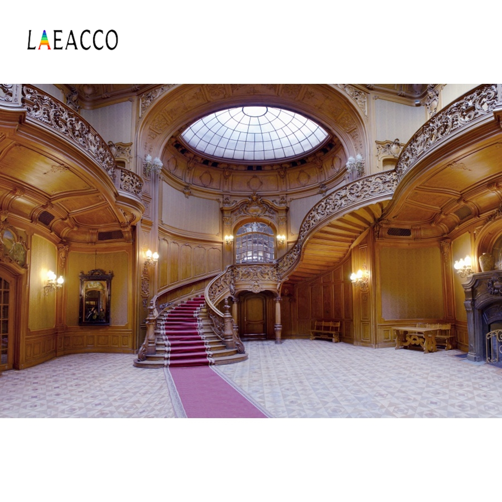 Laeacco Palace Interior Arch Door Window Stairs Photography Backgrounds Customized Photographic Backdrops For Photo Studio in Background from Consumer Electronics