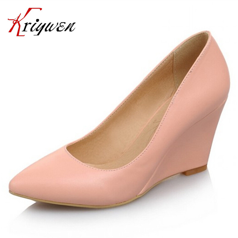 Hot sale big size 33-43 Fashion 2015 Women Sexy Pointed Toe Pumps  wedges Ladies' Wedding Party Dress Shoes 6colors PU red shoes big size sale 34 43 new fashion sexy pointed toe women pumps spring summer autumn high heels ladies wedding party shoes 6629