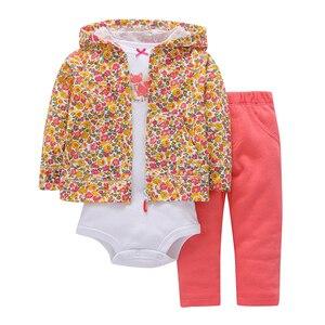 Image 4 - ארוך שרוול אהבת לב ברדס מעיל + אפור בגד גוף + מכנסיים ורוד 2019 תינוקת תלבושת יילוד ילד בגדי סט תינוקות בגדי חליפה