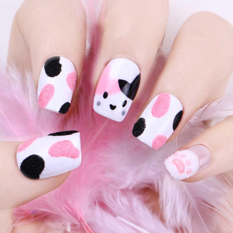 Warna-warni Fuzzy Flocking Beludru Kuku Bubuk Xmas Merah Pink Halloween Kuku Seni Dekorasi Gemerlap Nailart Kuku Uv Gel Pigmen