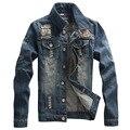 2017 nuevos hombres ripped jeans jacket casual denim escudo abrigos Ml XL XXL 3XL AYG07