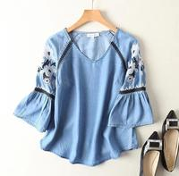 Women's spring summer casual loose thin denim shirt female vintage embroidery print v neck flare sleeve tops tees TB779