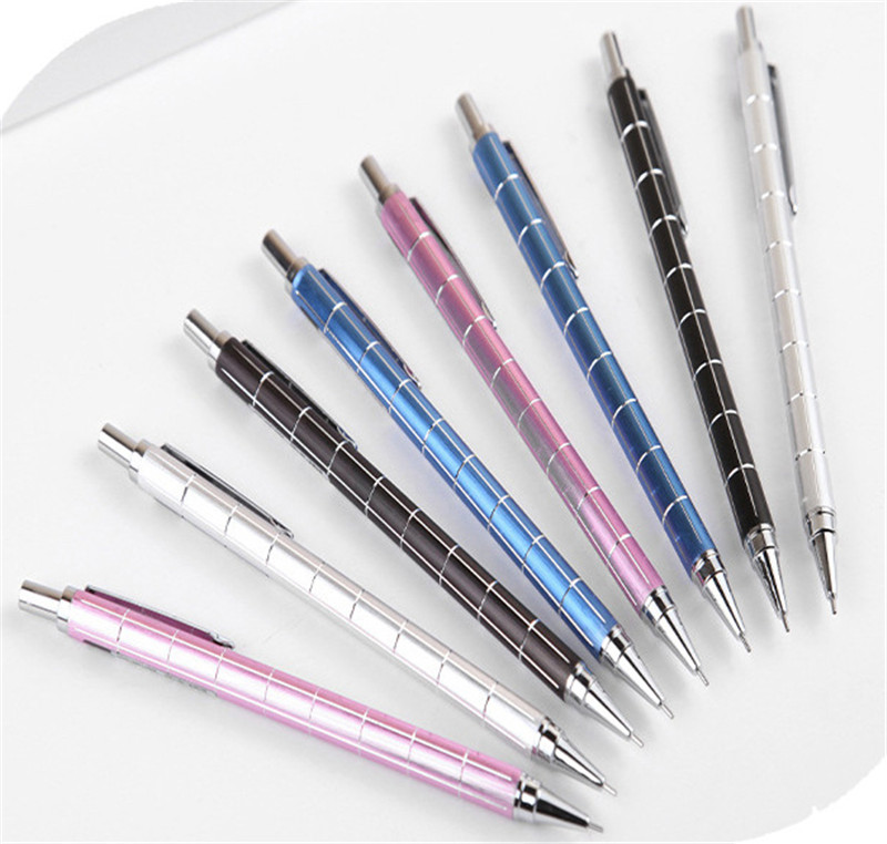 4Pcs Creative Plaid Metal Mechanical Pencil 0.5mm School Stationery Store Graphite Drawing Automatic Pen Kids Item Office Supply