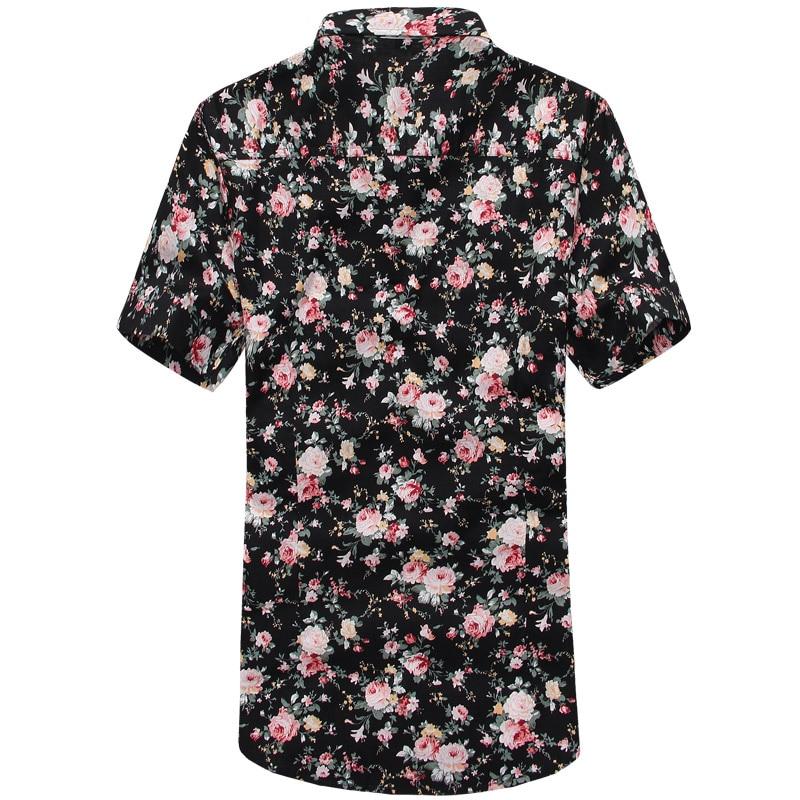 Men Summer Thin Shirts Short Sleeve Floral Shirts New Fashion Men Outwear Casual Slim Shirts Mens Cotton dress shirts 2