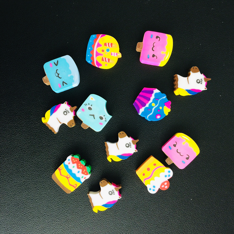 4pcs/Pack Lovely Cartoon Unicorn Cake Ice Cream Rubber Erasers Correction School Office Supply Student Stationery