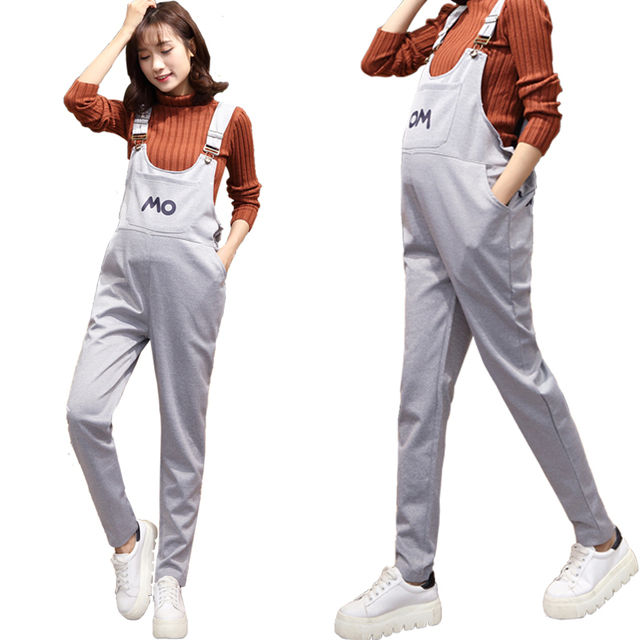 0b2fc74cd2426 Maternity Overalls Jumpsuit Pregnant Grey Rompers Clothing For Pregnancy  Causal Suspender Capris Pants Plus Size