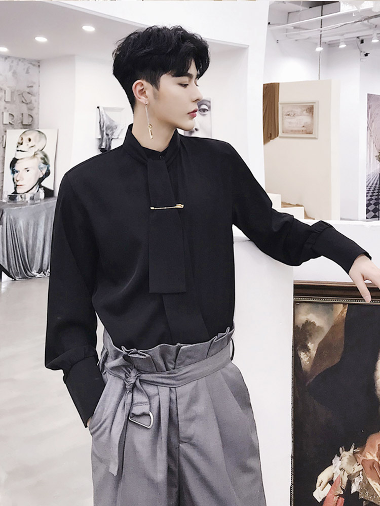 Black White Shirt Men Fashion Casual Long Sleeve Shirts Male Gothic Style Party Dress Shirts Lovers Clothes