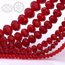 купить OlingArt 3/4/6/8/10mm Round Glass Beads Rondelle Austria faceted crystal Red wine color Loose bead 5040 DIY Jewelry Making дешево