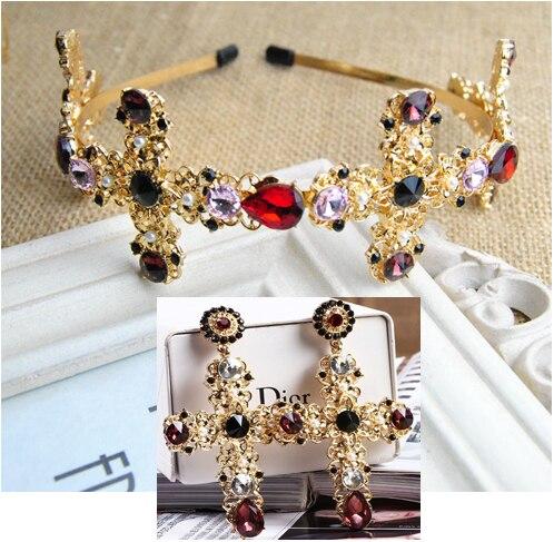 2017 новое Барокко ретро высококачественная крест Красочные Кристалл шпилька Свадебный головной убор ленты для волос женские Аксессуары золото Ювелирные Наборы