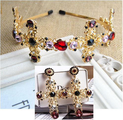 2017 new Baroque retro high-grade cross Colorful Crystal hairpin Bridal headdress hair bands women Accessories gold Jewelry Sets