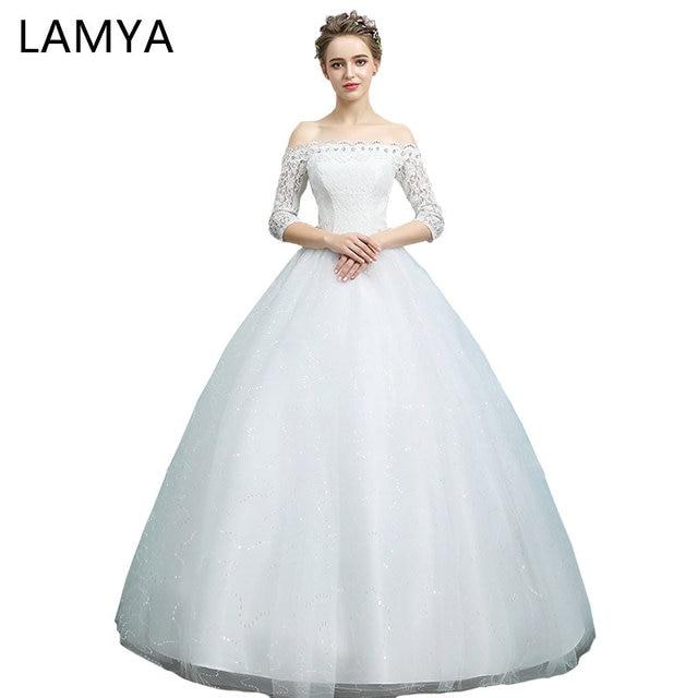 LAMYA Wedding Dresses 2018 Vintage Boat Neck With Half Lace Sleeve ...