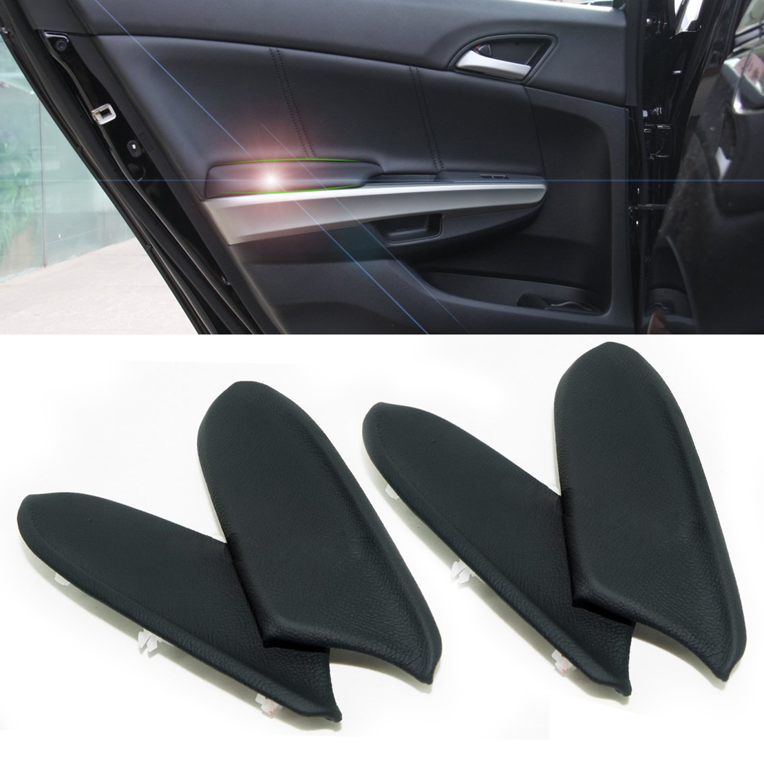 DWCX 4X Black Leather Front & Rear Door Panels Armrest Skin Covers for Honda Accord 2008 2009 2010 2011 2012 DIY only for Sedan