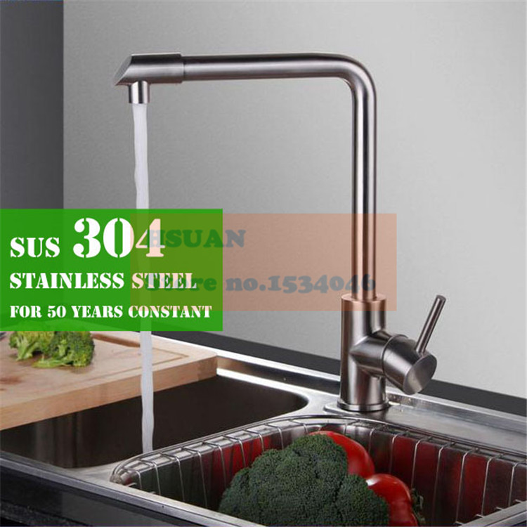304 stainless steel brushed health material kitchen sink rotation mixer faucet 7 design fashion High grade