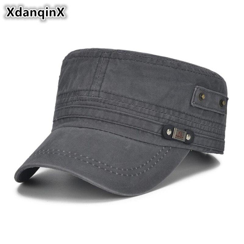 Xdanqinx Männer Snapback Kappe Mode Baumwolle Vintage Armee Militär Hüte Einstellbare Kopf Größe Flache Kappen Für Männer Marken Vati Hut Neue SorgfäLtige FäRbeprozesse Militärhüte Bekleidung Zubehör