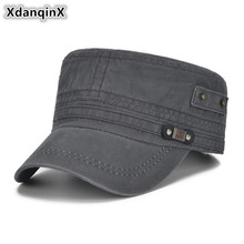 XdanqinX Men Snapback Cap Fashion Cotton Vintage Army Military Hats Adjustable Head Size Flat Caps For Brands Dads Hat NEW
