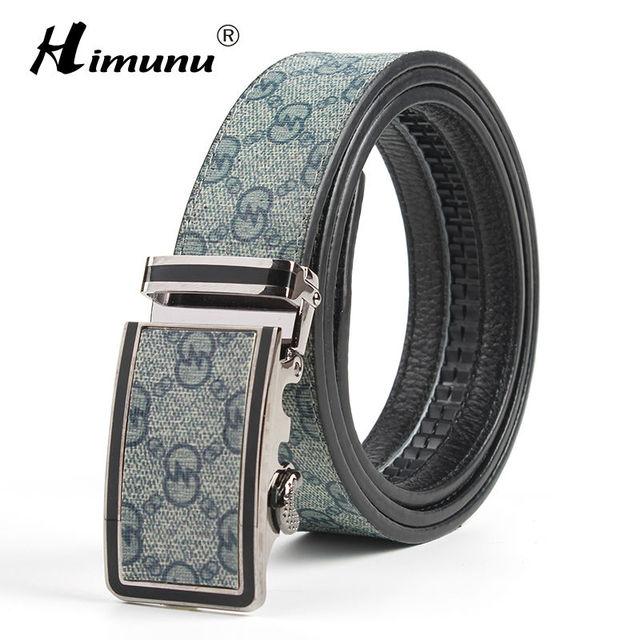HIMUNU Hebilla Automática Correa de Cuero Genuina Para Los Hombres de Impresión de Alta Calidad Para Hombre de Negocios Cinturones de Marca De Lujo Para Hombre Cinturones