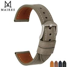 MAIKES Watch Accessories Genuine Cow Leather Strap Bracelets Soft Gray Watchband For Panerai 22mm 24mm Band