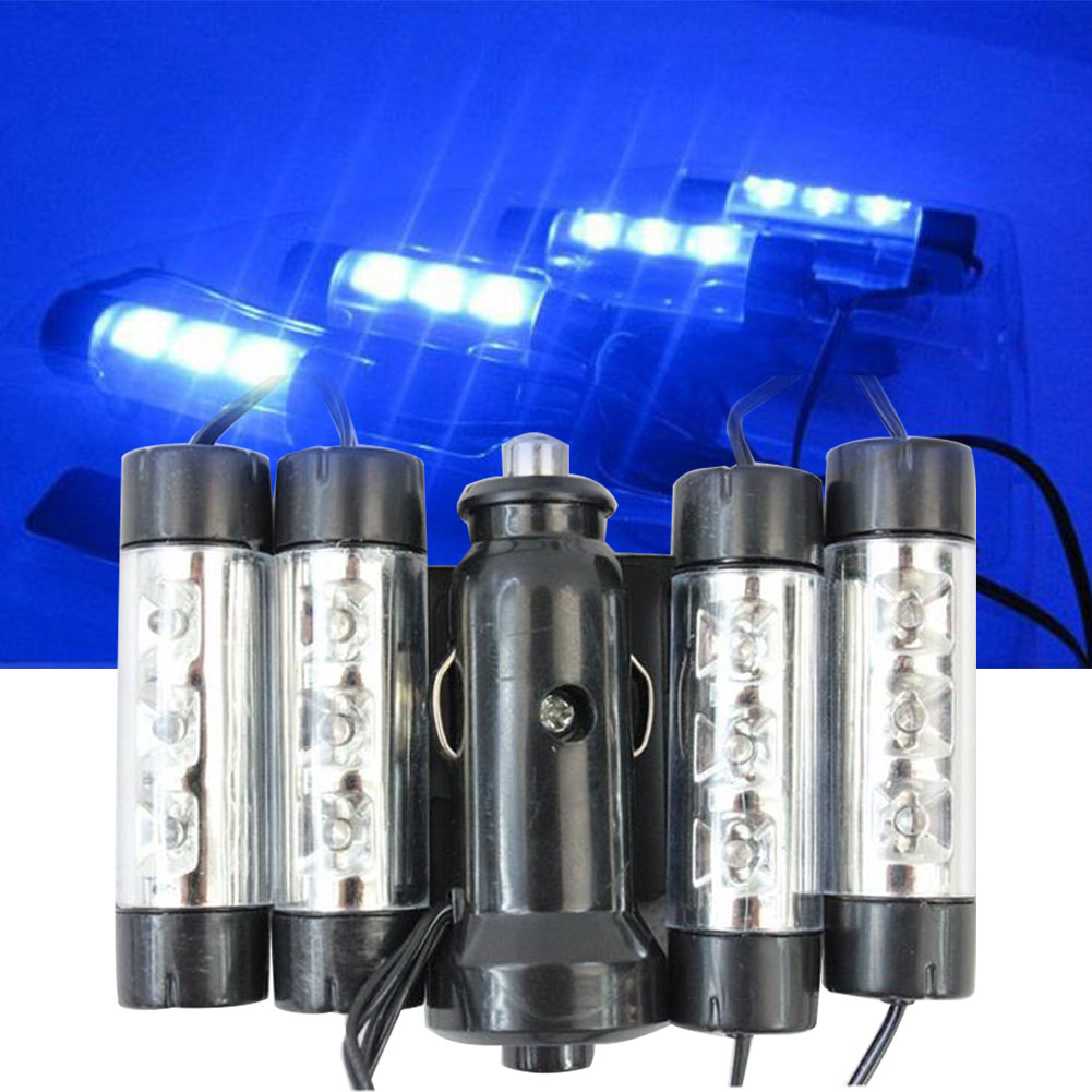 12LED Blue Car Interior Mood Ambient Lamp Indoor 4 In 1 Decorative Light Adjustable ABS Styling Durable 12V Atmosphere