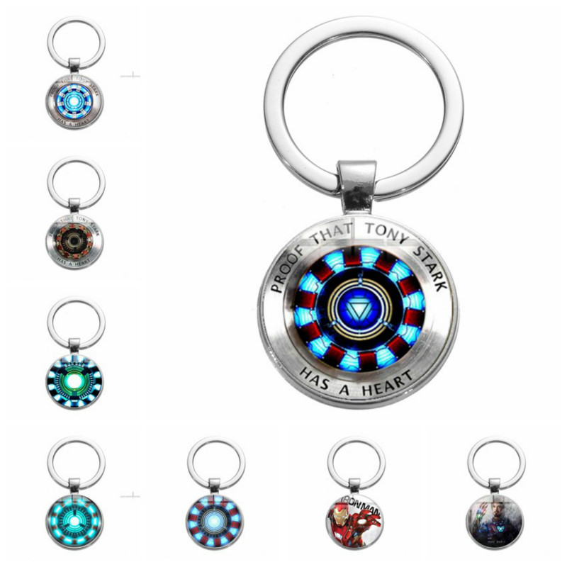 Iron Man Tony Stark Keychain Marvel The Avengers 4 Endgame Quantum Glass Pendant Key Ring Car Key Chain Holder Gifts For Men