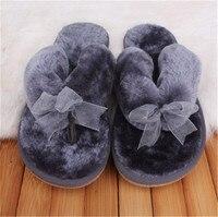 Phụ nữ giày Mùa Thu Mùa Đông Không trơn trượt Nhà Bowknot Bông Dép Sang Trọng Phụ Nữ Trong Nhà 's Dép Đi Trong Nhà Sàn Girl Lật Flip Flops Giày phẳng
