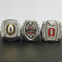 A Set 3pcs 2014 2015 Ohio State Buckeyes National College Football Championship Solid Copper Ring 8