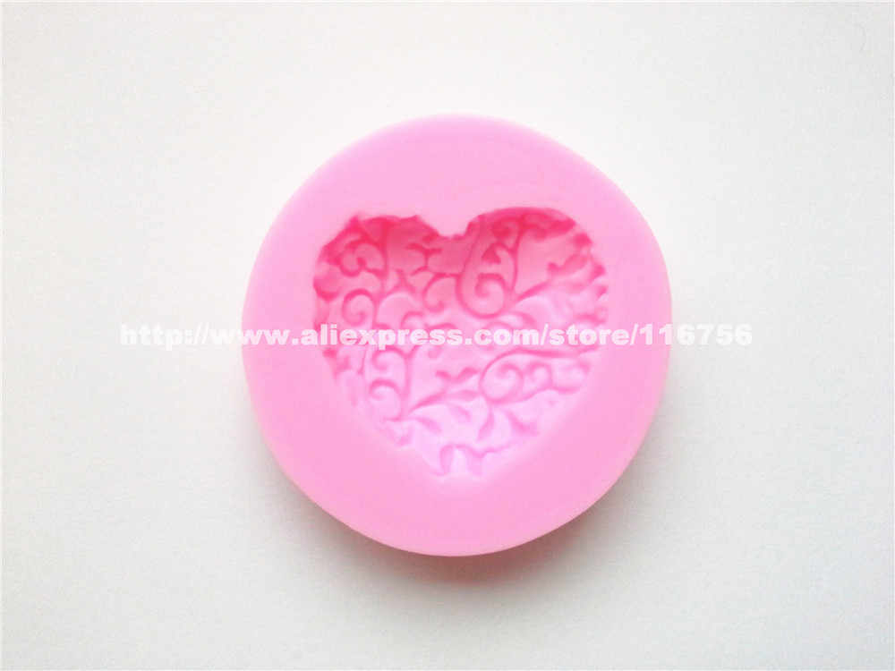 Gratis verzending kant hartvormige silicone mold cake decoratie fondant cake 3d food grade silicone mould 087