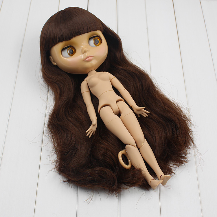 Nude Blyth doll brown bangs long wig neutral tan skin blyth doll joint body dolls for girls new year gifts free shipping nude blyth doll brown wavy wig doll toys for girls