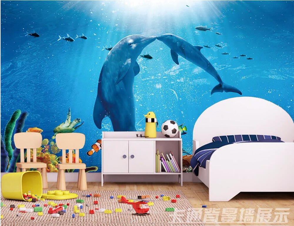 цена Custom mural 3d wallpaper Sea aquarium dolphins landscape room home decor painting 3d wall murals wallpaper for walls 3 d онлайн в 2017 году