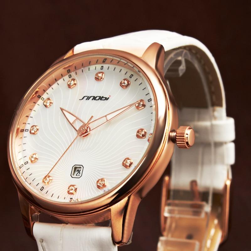 SINOBI Hot Sell Fashion Ladies Quartz Watch Brand Dress Women's Leather Strap Women Watches Fashion Waterproof Wrist Watches