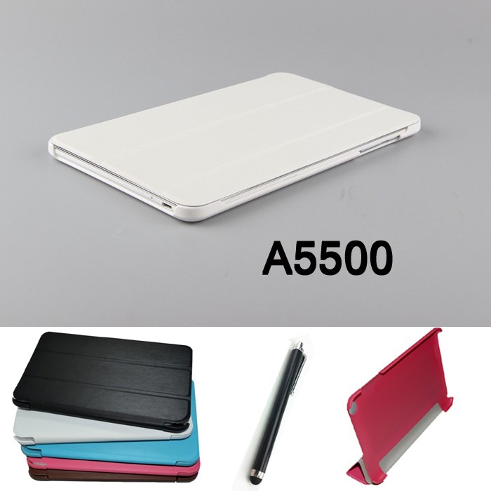 NEW fashion Tablet PU Leather stand Case cover for lenovo A5500 Tab ideatab A8-50 5500 6-Color +Stylus pen Free Shipping new luxury fashion pu leather cover case stand cover case for lenovo yoga tab 3 8 850f yt3 850f tablet free film free stylus