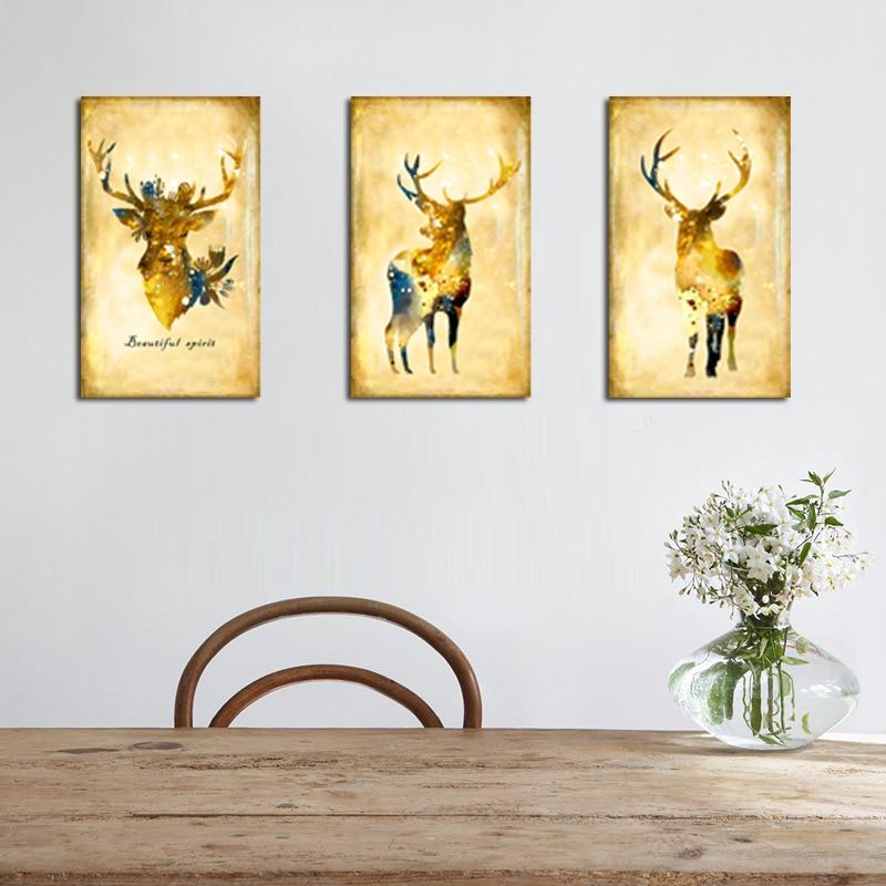 Nástěnné umělecké plátno Tisk Elk Olejomalba Akvarel Obrazy na plátně Dekorativní karikatura pro moderní dekorace do obývacího pokoje