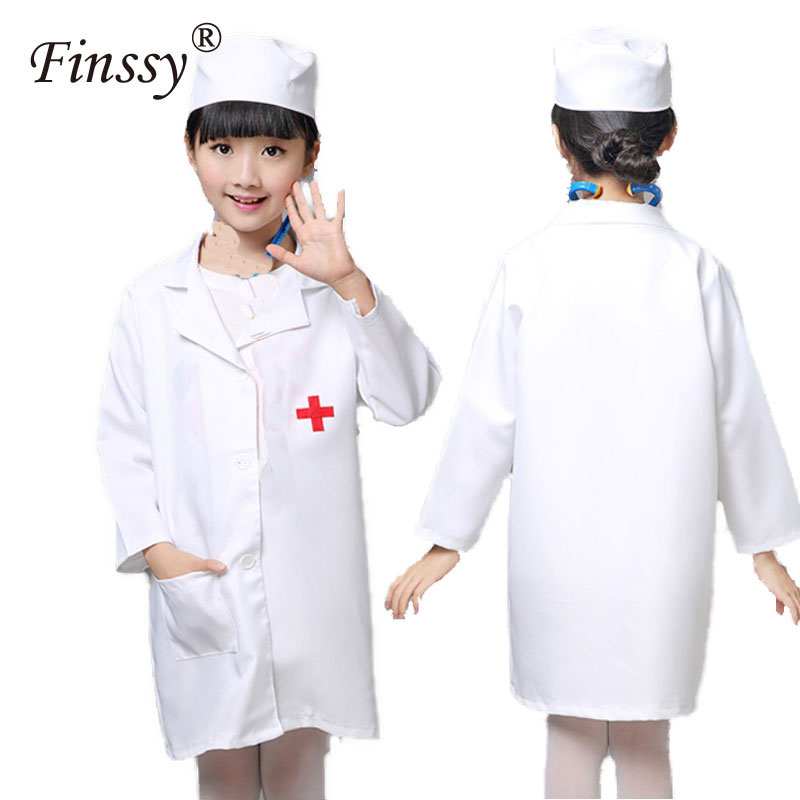 Girls Nurse Cosplay Costume Doctor Nurse Uniform Clothing Halloween Carnival Costume for Kids Party Dress With Hat