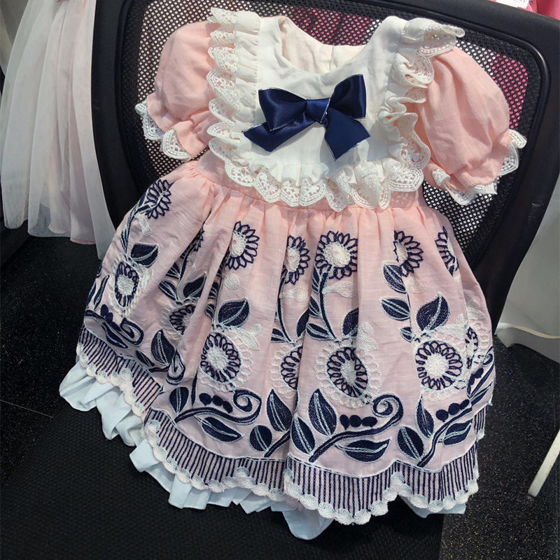 Roimyal Wholesale 2019 summer new Girls Jacquard dress pink and treasure blue pattern retro bubble sleeves